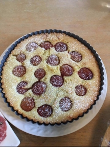 Cherry plum crustless frangipane tart